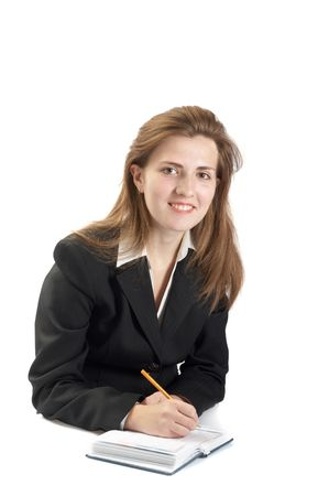 woman handle success: Portrait of businessewoman on a white background