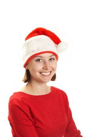 The young woman in a Santa claus cap  photo