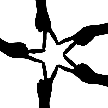 folded hand: The silhouette of a hand   Five hands folded star