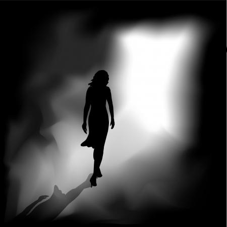 Een vrouw uit de duisternis aan het heldere licht Vector Illustratie