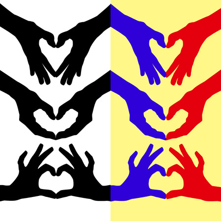 folded hand: Heart folded colored contours of the hand