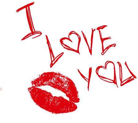 The inscription I love you and the imprint of red lipstick   Vector