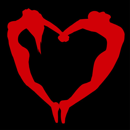 Red silhouette of men and women in the form of heart   Vector
