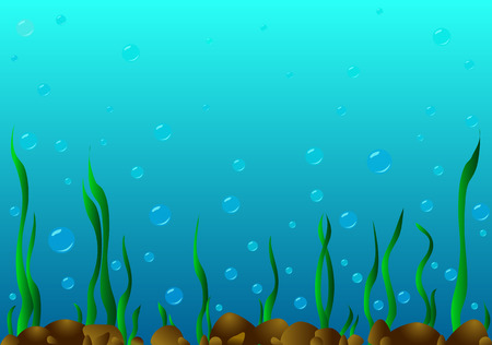 abstract backgrounds: On the seabed there are stones , algae grow and a lot of bubbles .