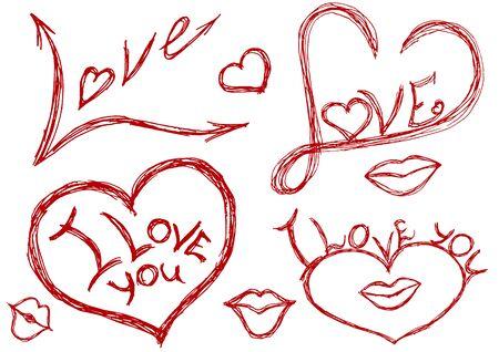 phrases: Corazones, besos y frases descuidadamente dibujan en papel.