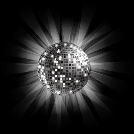 Disco ball argento su sfondo nero con raggi di luce. Archivio Fotografico - 39521795