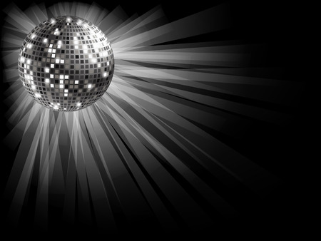 Disco ball silver on a black background with rays of light . Ilustracja