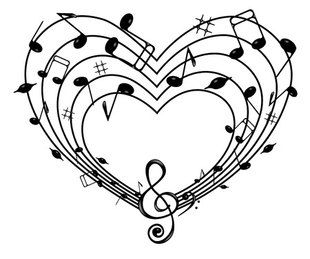 trill: On the white background of black notes and treble clef heart .