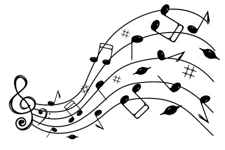 trill: Treble clef and notes of black on the wave , on a white background . Illustration