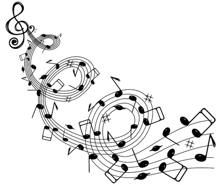 trill: On a white background wave of notes and treble clef . Illustration
