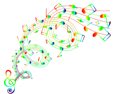 iridescent: On a white background wave of iridescent notes and treble clef .