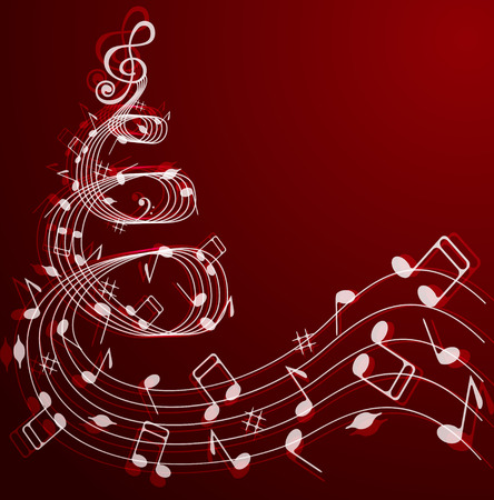 musical event: Notes and treble clef in the shape of a Christmas tree on a red background . Illustration