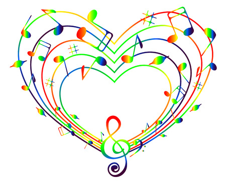 On a white background heart of the rainbow music .