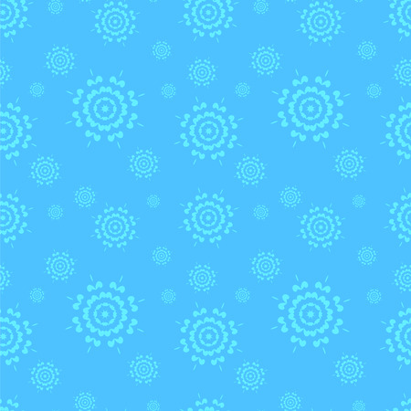 Seamless blue winter background with lace snowflakes of different sizes . Иллюстрация