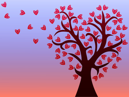 Love tree with leaves from the hearts on pink blue background.