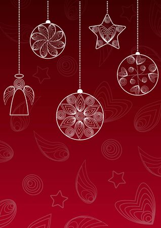 Christmas red background with hanging balls , angel and star in the technique of quilling. Иллюстрация