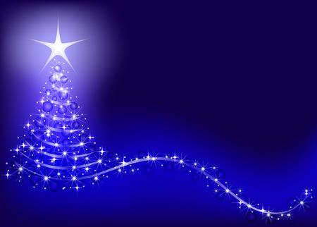Bright, shiny Christmas tree on a blue background. Иллюстрация