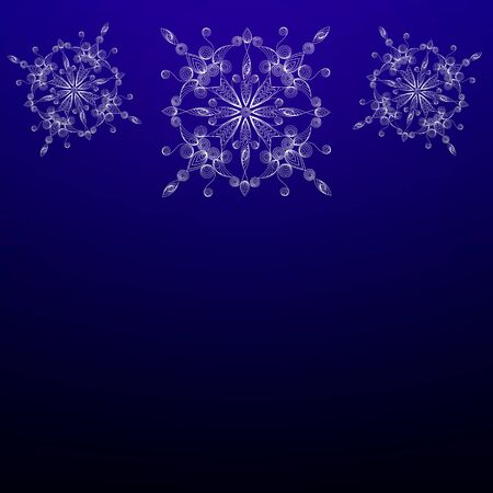Vitiate snowflakes on a blue background in the technique of quilling. Иллюстрация