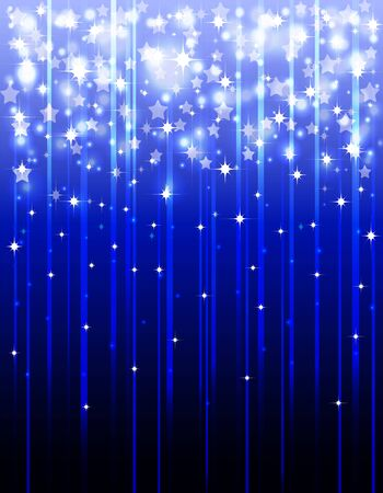 Festive , blue background with shooting stars , stripes and light effects .
