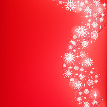Bright red Christmas background with falling snowflakes in a whirlwind .