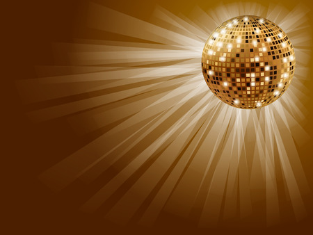 glitter ball: Golden disco ball for a party on a gold background . Illustration