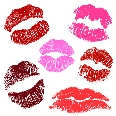 Vector lipstick prints on a white background .