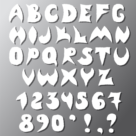 Letters and numbers are sloppy cut from paper with a drop shadow. Иллюстрация