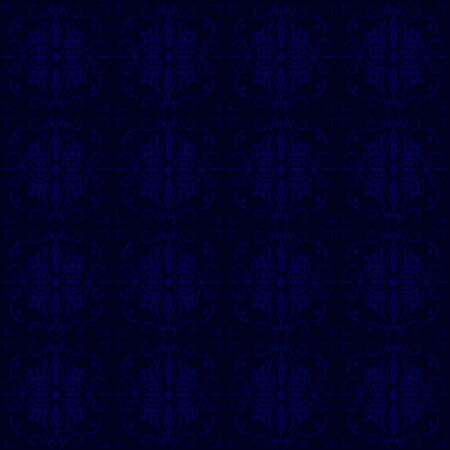 Dark blue with swirls and dots seamless pattern in old-fashioned style.