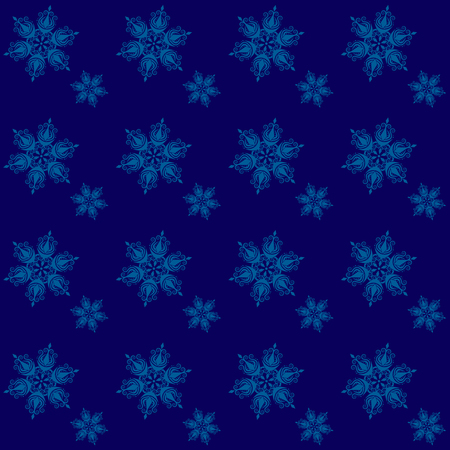 Winter dark blue background with snowflakes seamless .