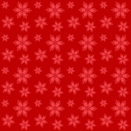 Christmas pattern with snowflakes on red background seamless .