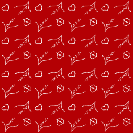Festive seamless pattern for Valentines day. On a red background with the inscription love , lips and heart. Иллюстрация
