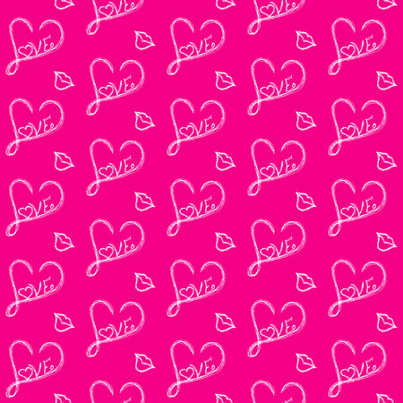Love seamless pattern on a pink background of white painted heart and a kiss . Иллюстрация