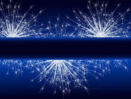 Sparkle fireworks on blue background with space for text.