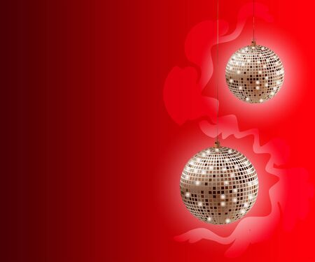Beautiful red Christmas background with golden disco balls .