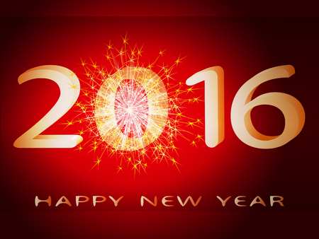 On a red background inscription 2016 happy new year with fireworks. Иллюстрация