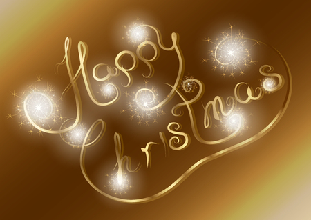 Happy Christmas on a Golden background with fireworks.