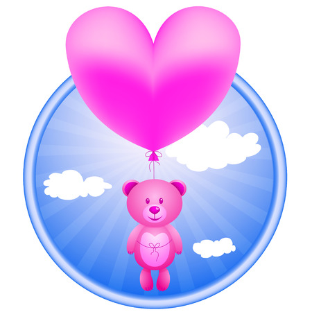 Pink bear flying on a balloon in the shape of a heart in the sky . Иллюстрация