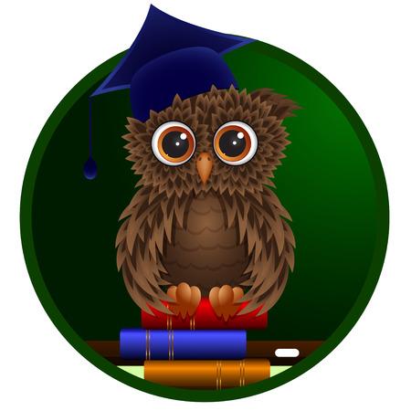 Smart owl sitting on the books on the blackboard .