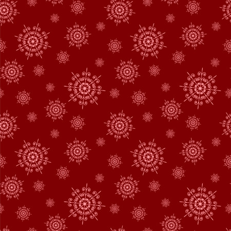 Christmas seamless red background with snowflakes .