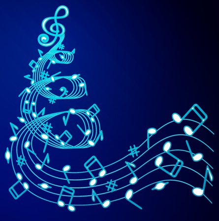 Christmas tree of musical notes on a blue background .