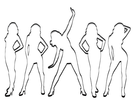 Unusual girls silhouettes on a white background.