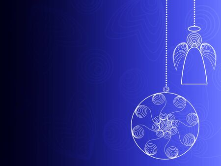 Blue background with hanging Christmas decorations . Иллюстрация