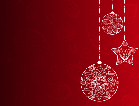 Red background with Christmas ornaments in the style of quilling .