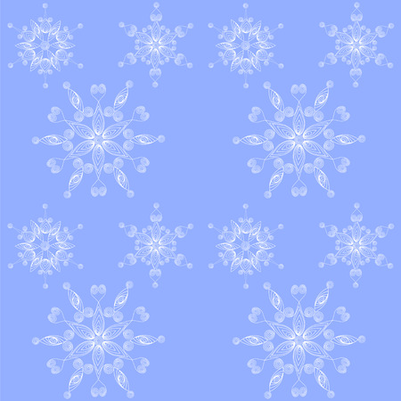 quilling: Blue winter background with snowflakes in quilling technique.