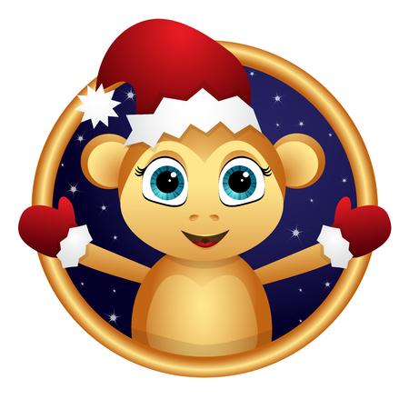Monkey Santa in the night sky in a Golden frame. Иллюстрация