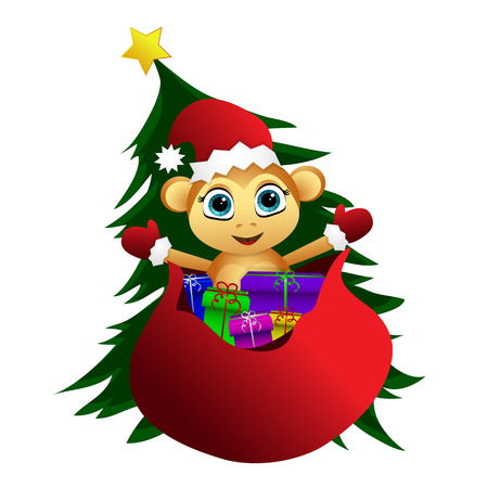The monkey popping up from the bag of gifts on the background of Christmas trees.