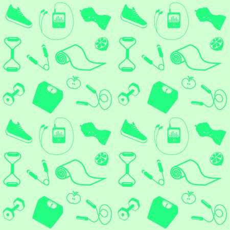 Healthy lifestyle in symbols seamless mint color .