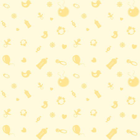 Background with symbols of the newborn baby light yellow color .