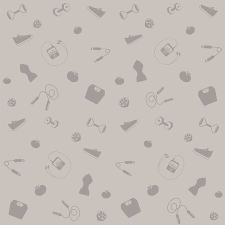 Background with symbols of healthy life gray . Иллюстрация