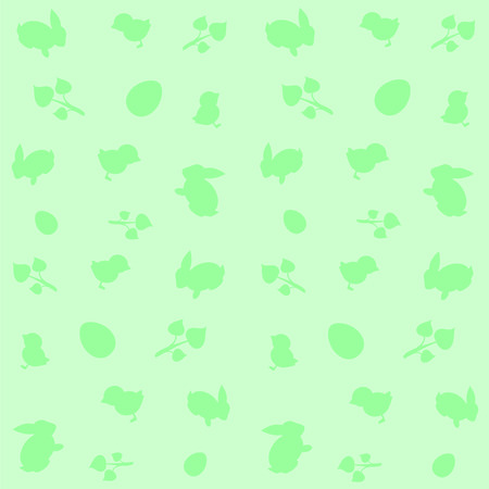 Green background with symbols of Easter Bunny ,chicken and egg .